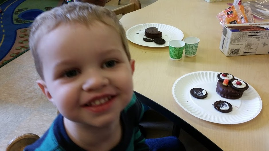 Photo taken 2 weeks ago at school when one of the moms taught the kids how to make owls out of MOON PIES!